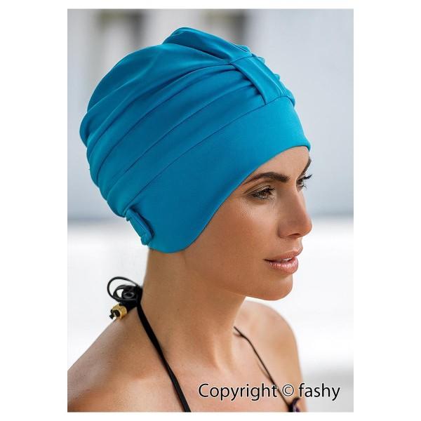 Dames de bonnet de bain en polyester turquoise bonnet de bain avec fermeture Velcro