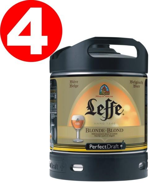4x Leffe blond de Belgique Perfect Draft 6 litres fût de biere 6,6 % vol
