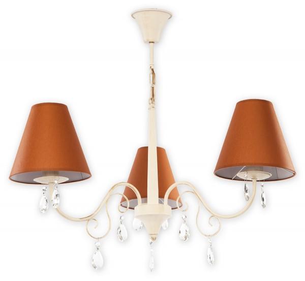 Lemir Velio aba?ur lustre 3 flammes / brun + blanc antique ombre d'acier: textile