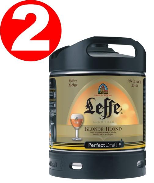 2 x Leffe Blonde biere de Belgien Perfect Draft 6 litres - 6,6 % vol.