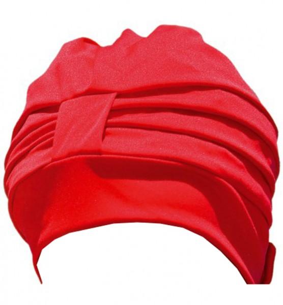 Dames de bonnet de bain en polyester rouge bonnet de bain avec fermeture Velcro