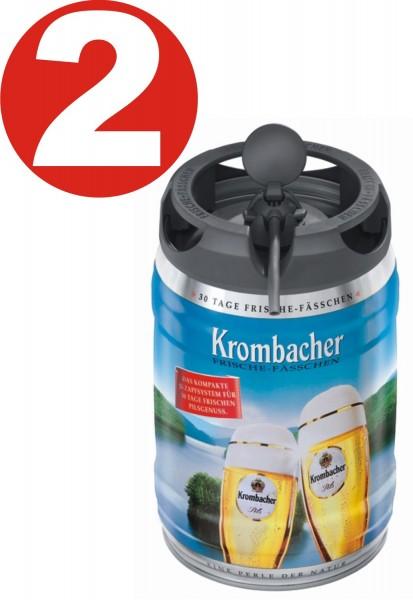 2 x Récipient de fraîcheur Krombacher Pils,Fut de bière Allemande 5 litres 4,8% vol