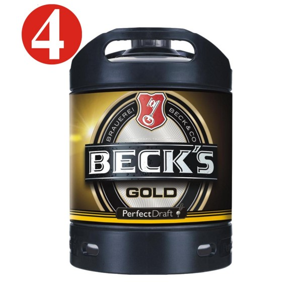 4x Becks gold Or Perfect Draft fût de bière 6 litres4,9%