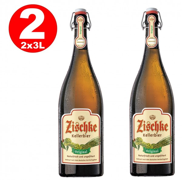 1 x Zischke Kellerbier Original 3 litres! Bouteille à repasser sans filtre 4,8% vol MULTIWAY
