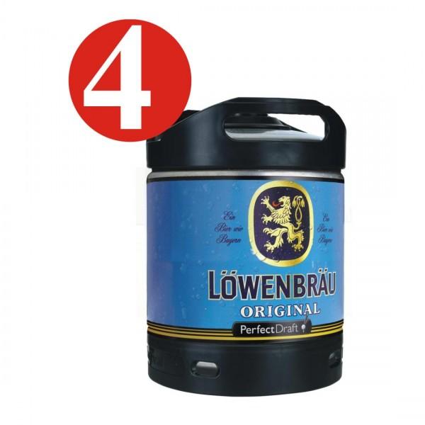 4 x Loewenbraeu Projet original parfait 6 litres fût de bière 5,2% vol
