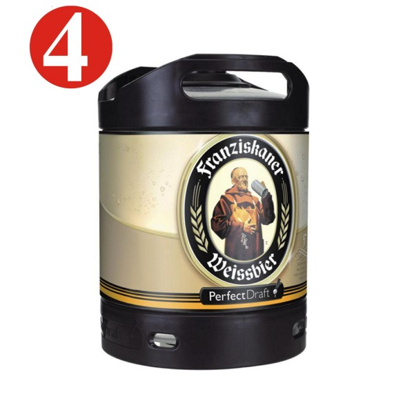4x Franziskaner Weissbier Perfect Draft Canon de 6 litres 5,0% vol