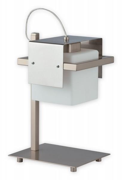 Lampe de table Lemir Tronto 1 flamme / acier inoxydable Shade + en acier inoxydable: verre 20 x 16