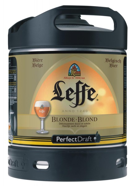 Leffe Blonde fût de biere de Beldien Perfect Draft 6 litres baril 6,6 % vol.