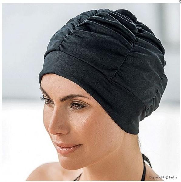 Bonnet de bain pour dames polyester noir bonnet de bain avec joint de silicone