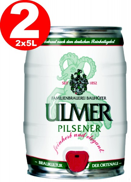 2 x Ulmer Pilsner Fut de bière Allemande 5,0 litres de 5,2% vol. REDUCED best before 12/19