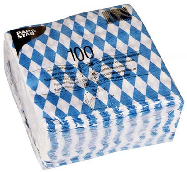 1 paquet de 100 tissus - Serviettes Bayernraute Bayrisch bleu 16x16 cm