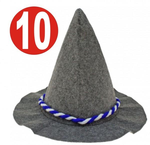 10 x Feutre lourd gris Seppelhut avec cordon bleu / blanc pour l'Oktoberfest 33 cm