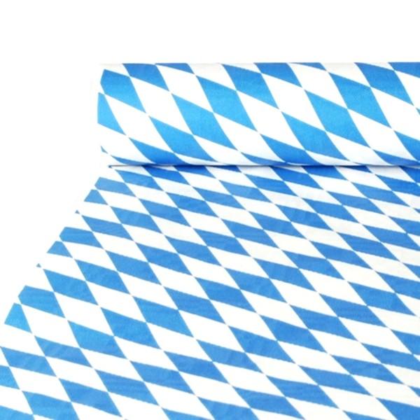 Nappe en papier avec gaufrage damassé 10 m x 1 m Bavarois bleu