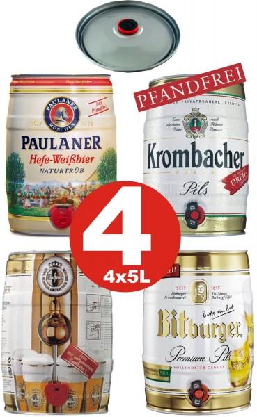 4 x Différentes sortes Fut de bière Allemande 5 litres de teneur en alcool voir description