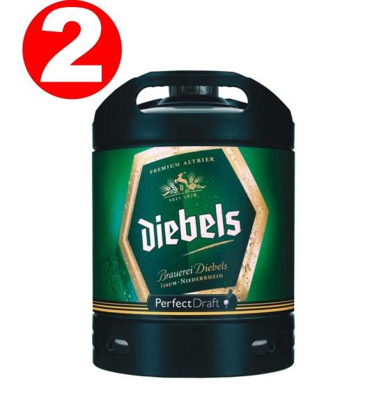 2 x Diebels Alt Perfect Draft fût de bière 6 litres de 4,9% vol.