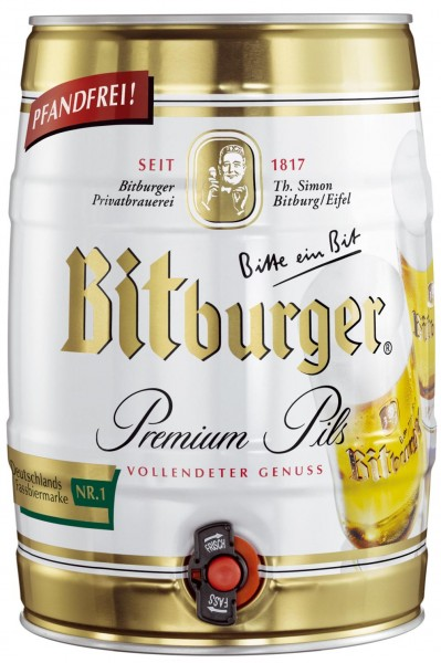 Bitburger Pils prime de 5 litres Fut de bière Allemande 4,8% vol