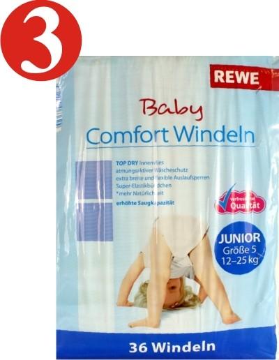 3 x Les couches confort bébé REWE juniors 36 couches