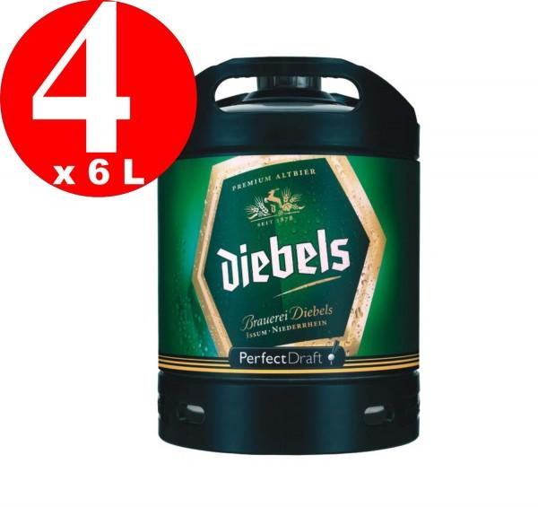 4 x Diebels Alt Perfect Draft baril 6 litres de 4,9% vol. fût de bière