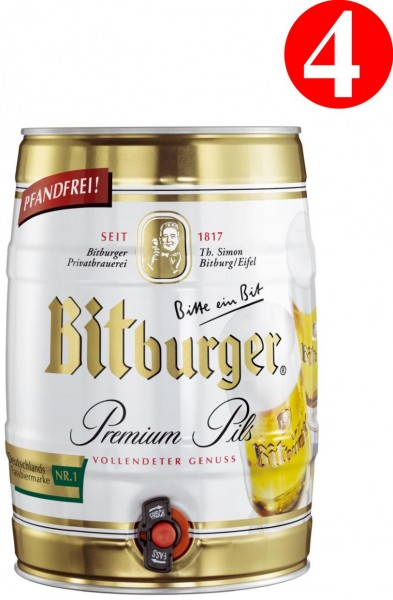 4x Bitburger premium PILS 5 litre Fut de bière Allemande