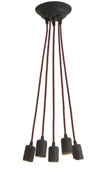 Lampe suspension contemporaine LAMPEX 5 métal / verre 80 x 38 cm