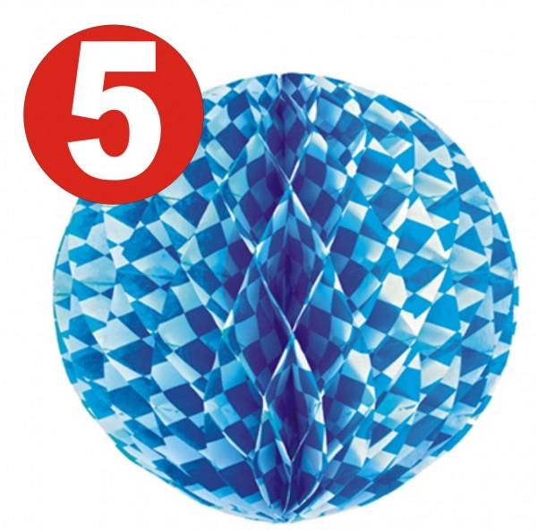 5 x Boule en nid d'abeille Ø 30 cm ignifuge bavarois bleu