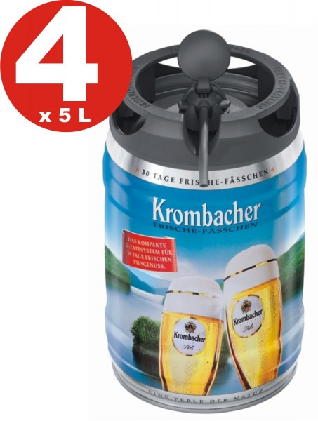 4 x Récipient de fraîcheur Krombacher Pils, 5 litres Fut de bière Allemande 4,8% vol