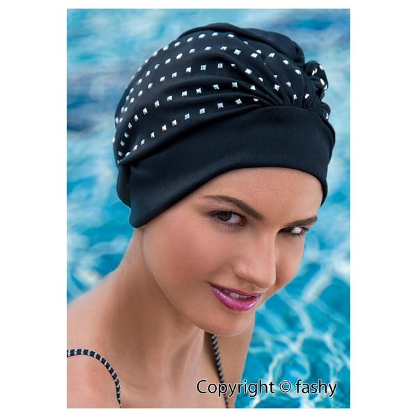 Exclusive dames de bonnet de bain noir avec Sillberpailetten