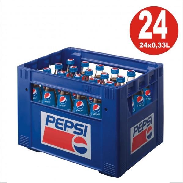 24 bouteilles de verre Pepsi-Cola 0,33 L dans la boîte d'origine