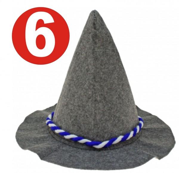 6 x Feutre lourd gris Seppelhut avec cordon bleu / blanc pour l'Oktoberfest 33 cm