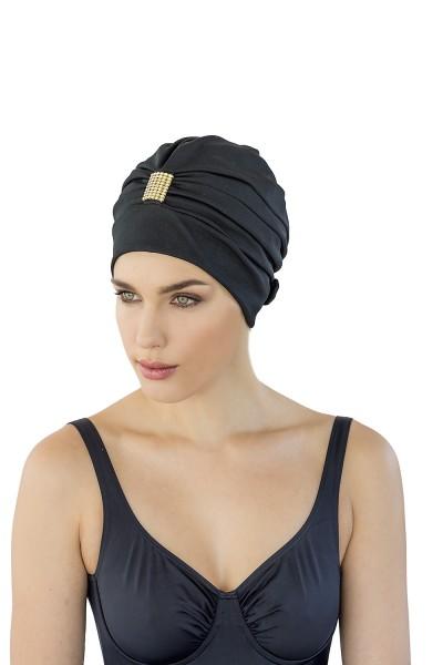 Dames de bonnet de bain noir avec strass accessoire