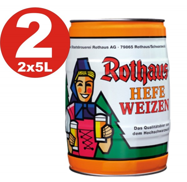 2 x Rothaus Hefeweizen 5 L 5.4% vol Fut de bière Allemande bière blanche de levure