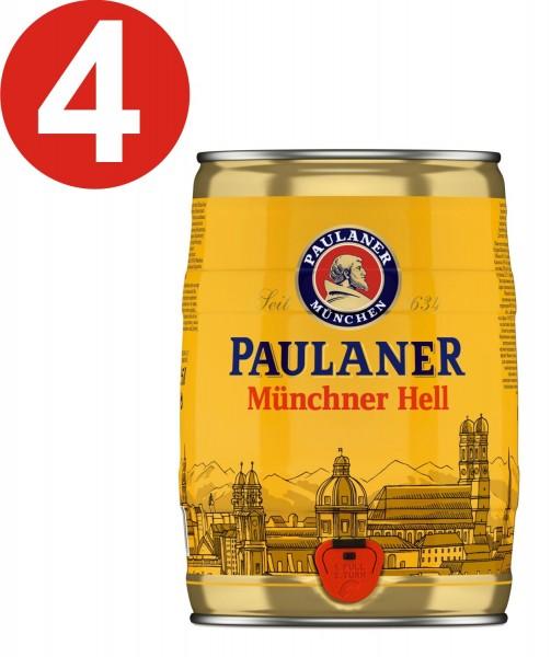 4 x Paulaner Muenchner Enfer 5 litres Fut de bière Allemande 4,9%vol. alc.