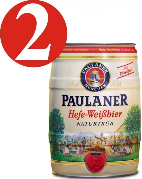 2 x Paulaner levure bière blanche nature nuageux 5,5% vol 5 litres Fut de bière Allemande