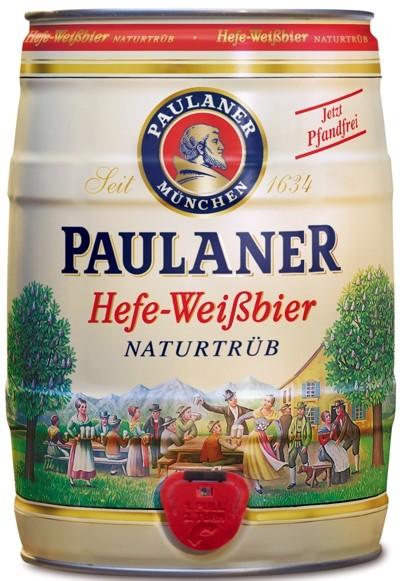 Paulaner Hefe-Weissbier Naturtrueb, levure bière blanche nature nuageux 5,5% vol de 5 litres Fut de bière Allemande