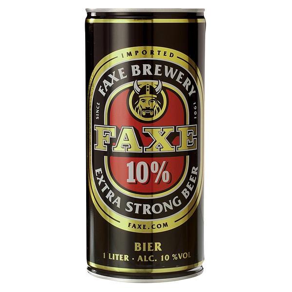 12 x Faxe extra fort de 10% vol. Bière forte du Danemark Bidon de 1 litre