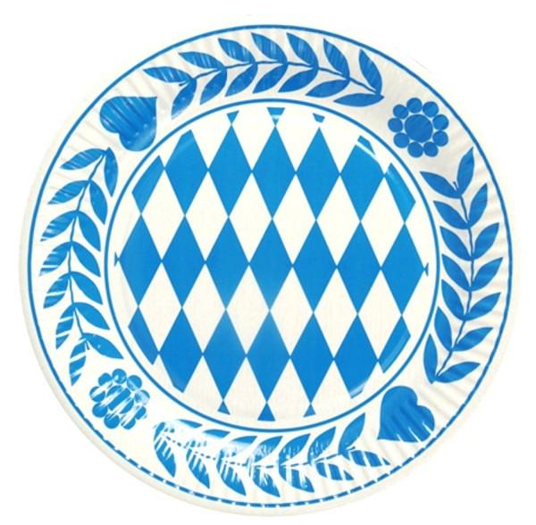Assiette Bavière 10 pièces, carton rond diamètre 23 cm Bavarois bleu