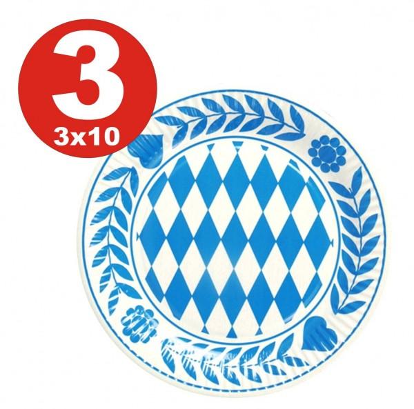 Assiette Bavière 3 x 10 pièces, carton rond diamètre 23 cm Bavarois bleu