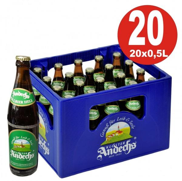 20 x Andechser Vollbier hell 0,5 l - 4,8% vol. Boîte d'origine d'alcool