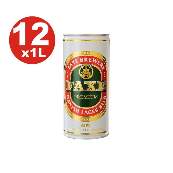 12 x Faxe Premium Danish Lager 5% vol 1 litre peut