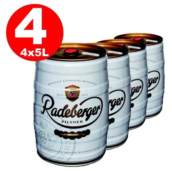 4 x Radeberger Pilsener 5 litres fût 4.8% vol - dépôt jetable