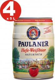 4 x Paulaner Hefe-Weissbier Naturtrüb naturellement nuageux bière de blé 5,5% vol de 5 litres fût de bière
